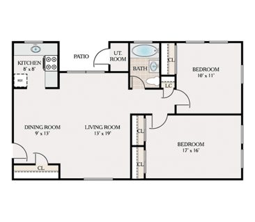 2 Bedroom 1 Bathroom. 714 sq. ft.