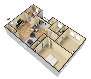 3D Furnished. 2 Bedroom 1 Bathroom. 714 sq. ft.